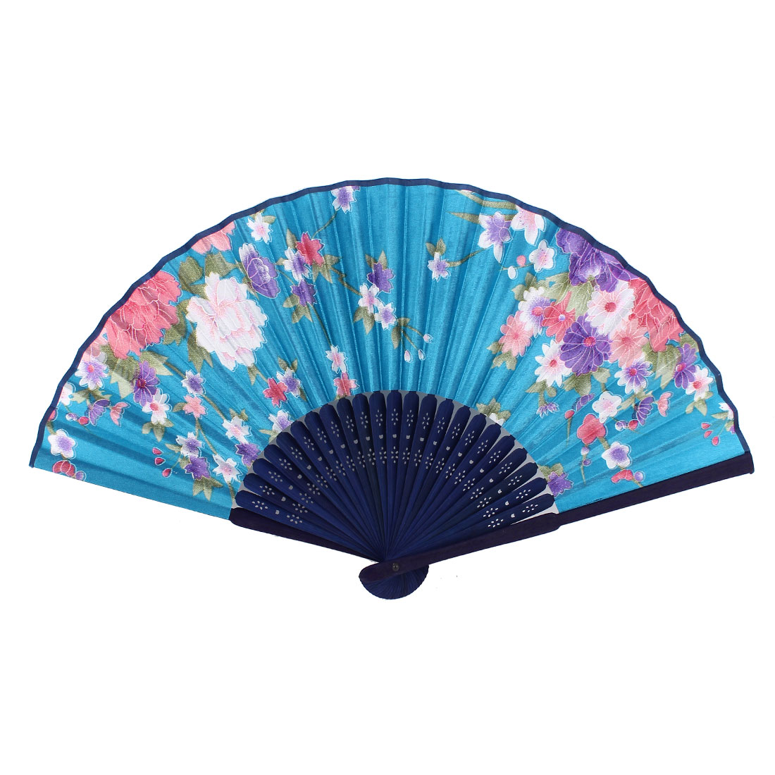 Lady Woman Hollow Out Bamboo Ribs Dance Foldable Handheld Hand Fan Blue