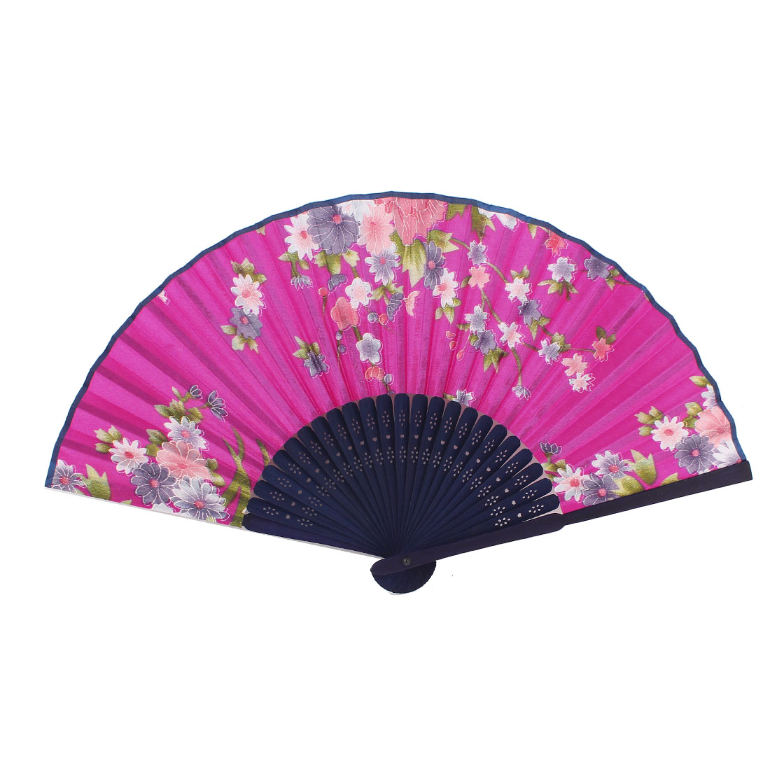 Bamboo Hollow Out Ribs Mini Flowers Pattern Portable Hand Fan Fushcia