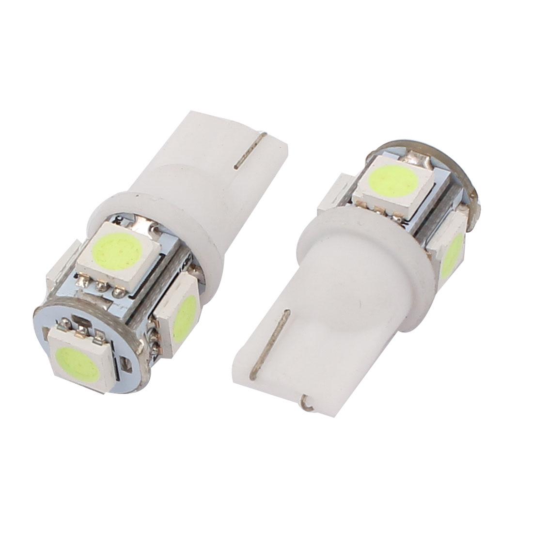 2 Pcs 12V T10 LED Cool White Car Side Wedge Light Dashboard Instrument Lamp Bulb Interior