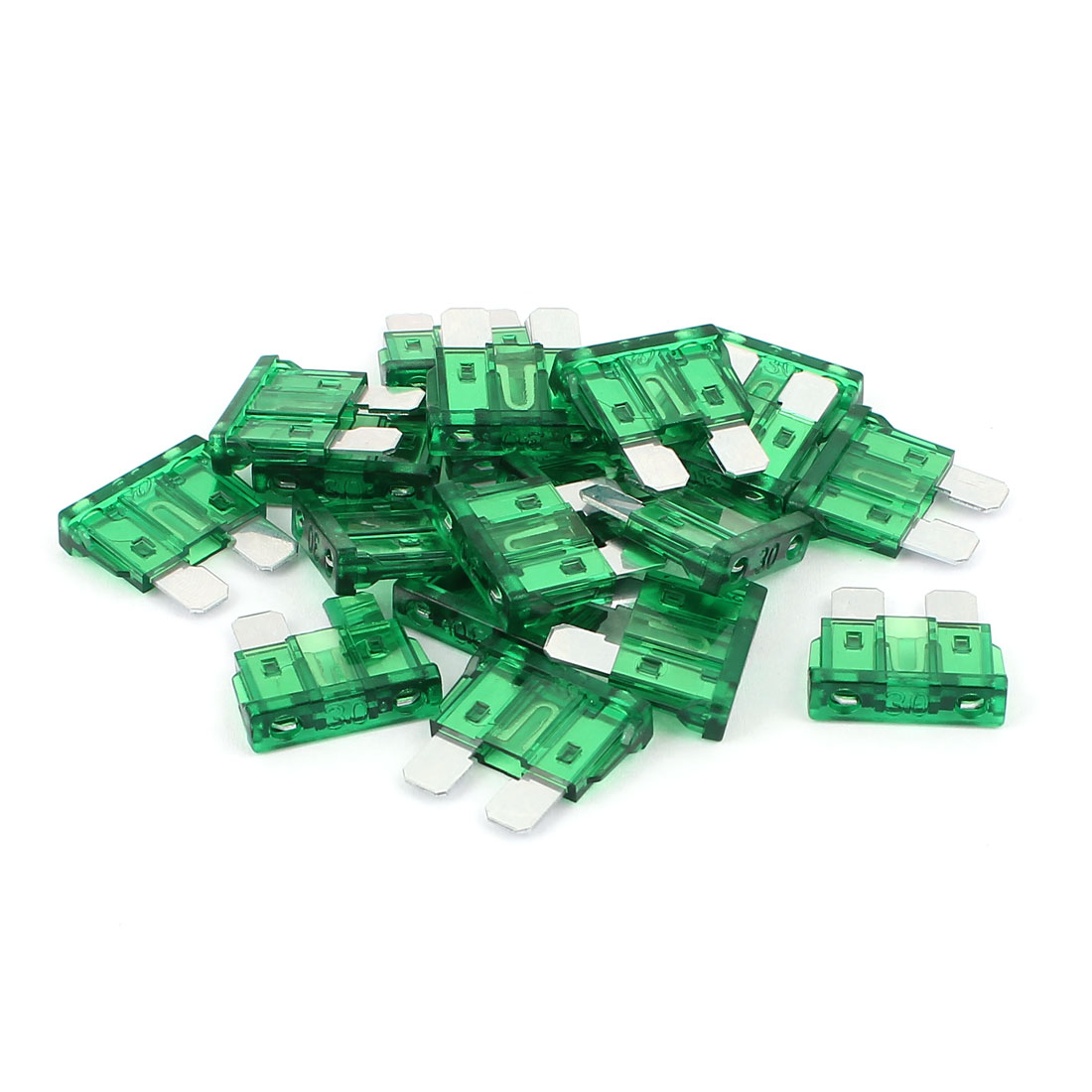 Plastic Housing Max Blade Fuse Green for Automotive Car 30A 32V 19 Pcs
