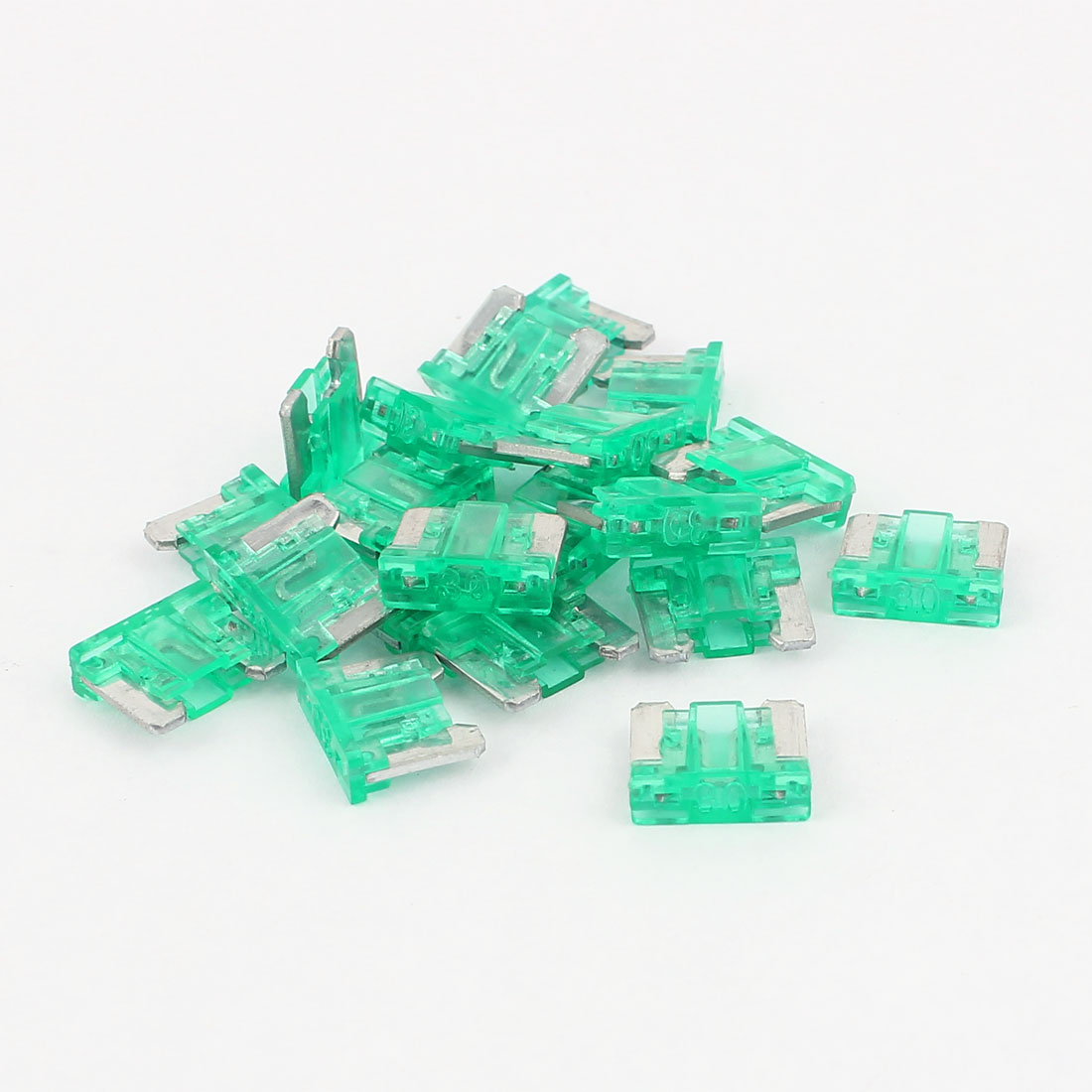 Car Truck Plastic Housing Mini Blade Fuse Green 30A 32V 20 Pcs