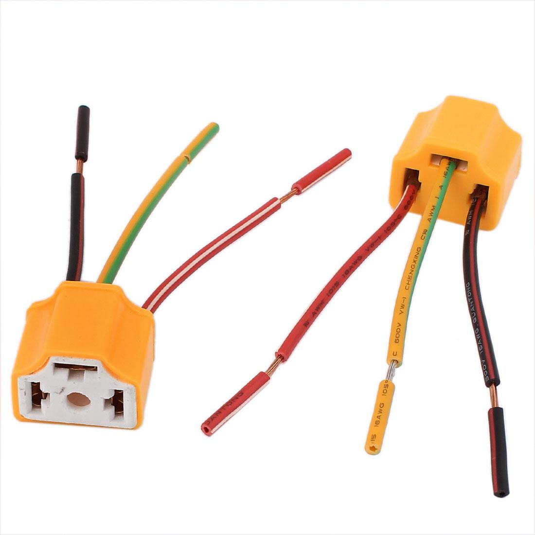 2Pcs Auto Car Truck Ceramic Headlight Connector H4 Light Lamp Socket Yellow
