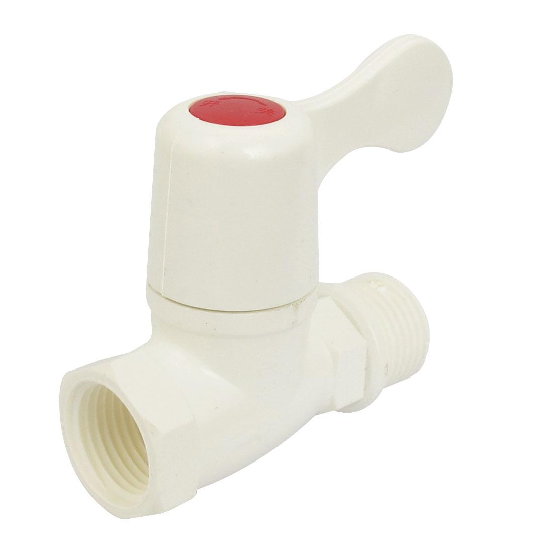 White Plastic Straight Water Heater Valve Control Tap 20mm Thread Dia