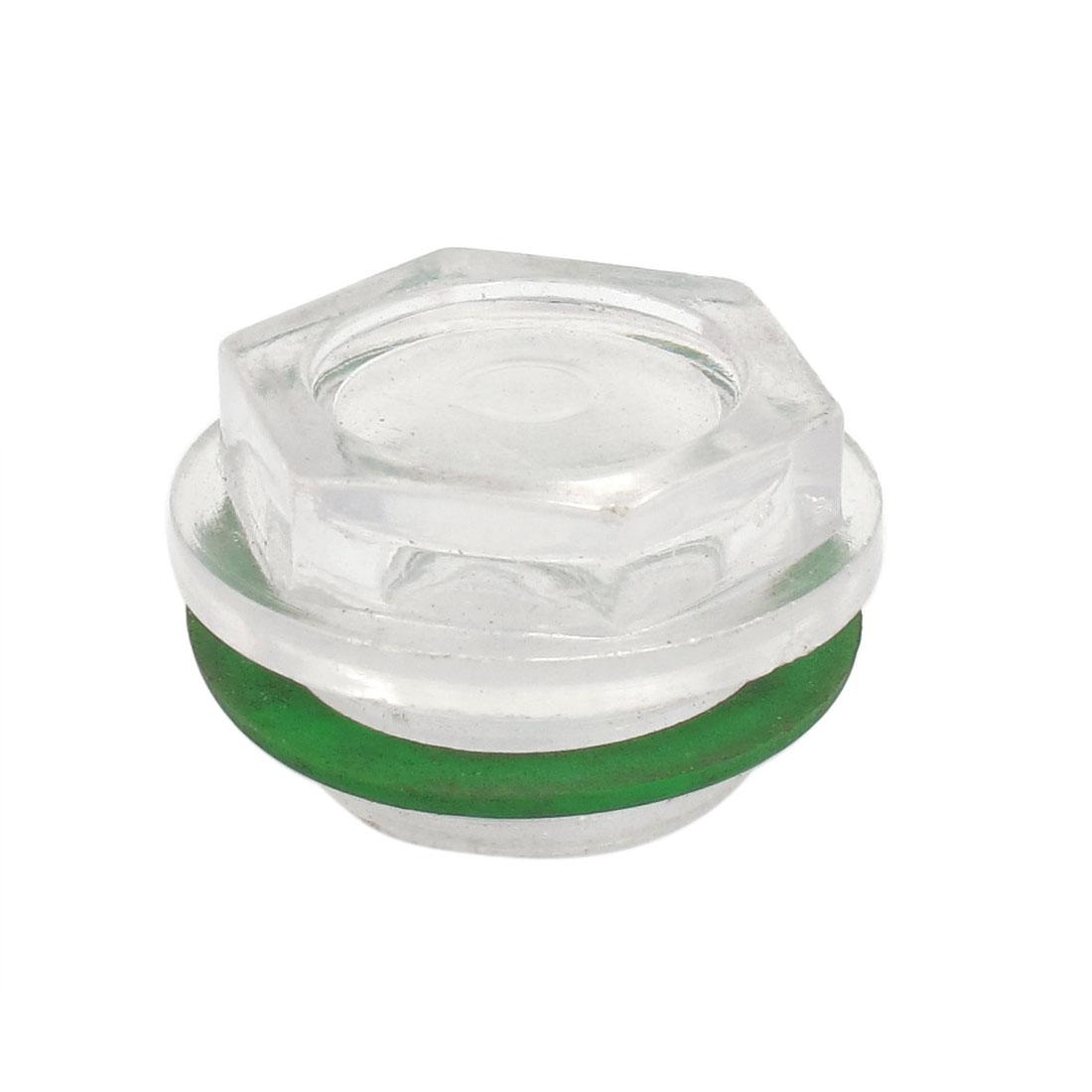 25mm Thread Dia Liquid Oil Level Sight Glass Green for Air Compressor