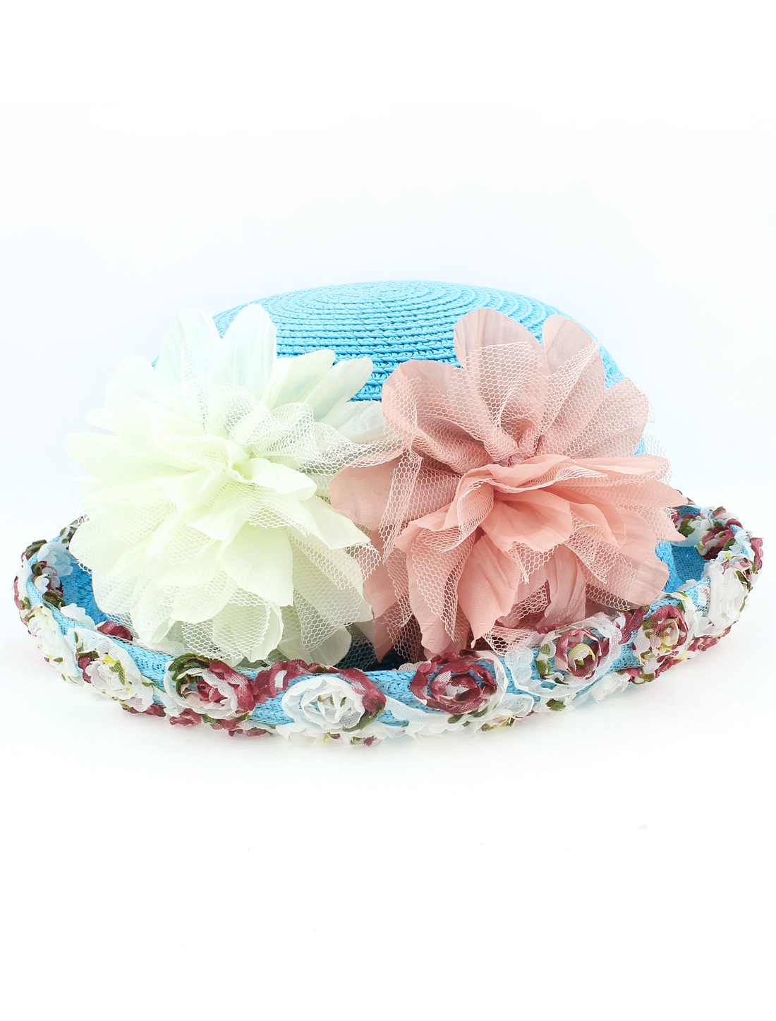 Women Ladies Natural Brim Flower Decor Trilby Summer Beach Sun Straw Hat Blue
