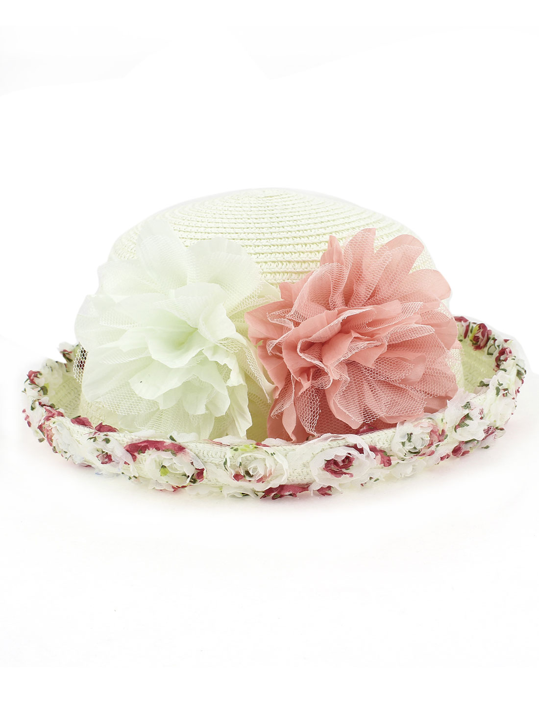 Women Ladies Natural Brim Flower Decor Trilby Summer Beach Sun Straw Hat Beige