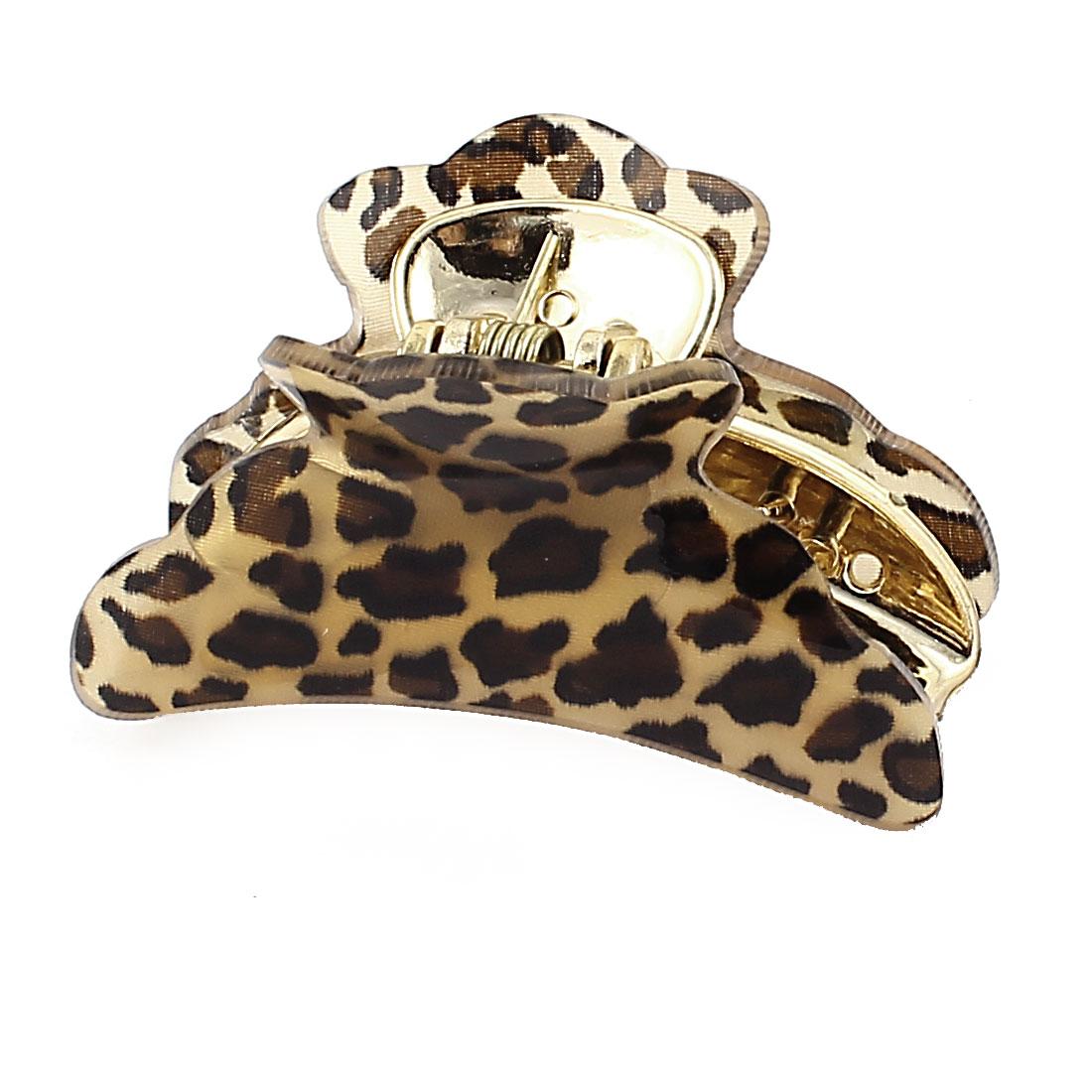 Plastic Ladies Teeth Design Leopard Print Hair Claw Clamp Hairclip Brown