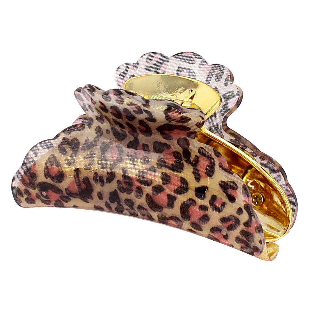 Plastic Teeth Design Leopard Pattern Hair Claw Clamp Hairclip Black Pink for Women