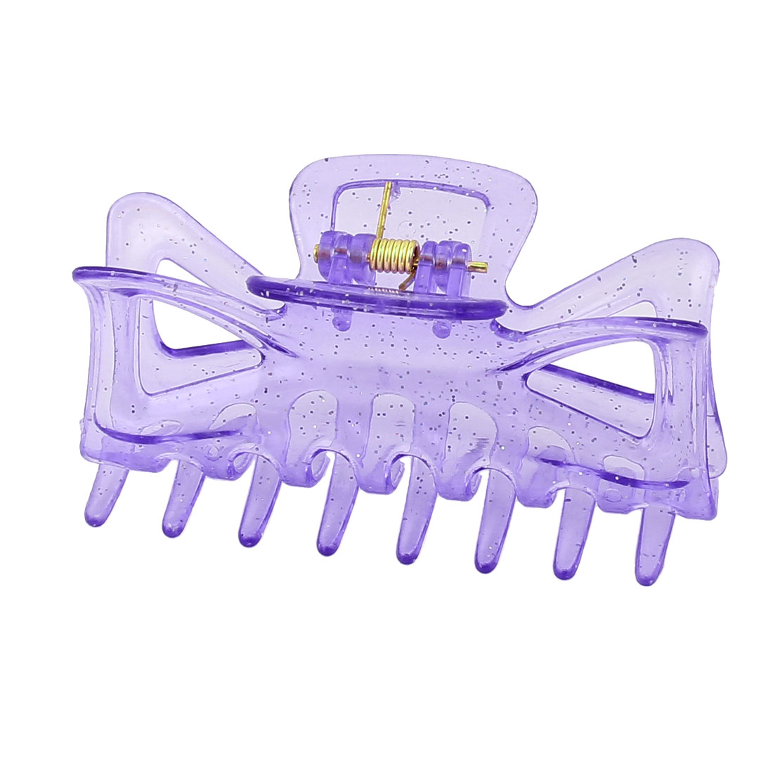 Plastic Teeth Design Spring Loaded Glitter Powder Hairpin Hair Clip Claw for Ladies Purple