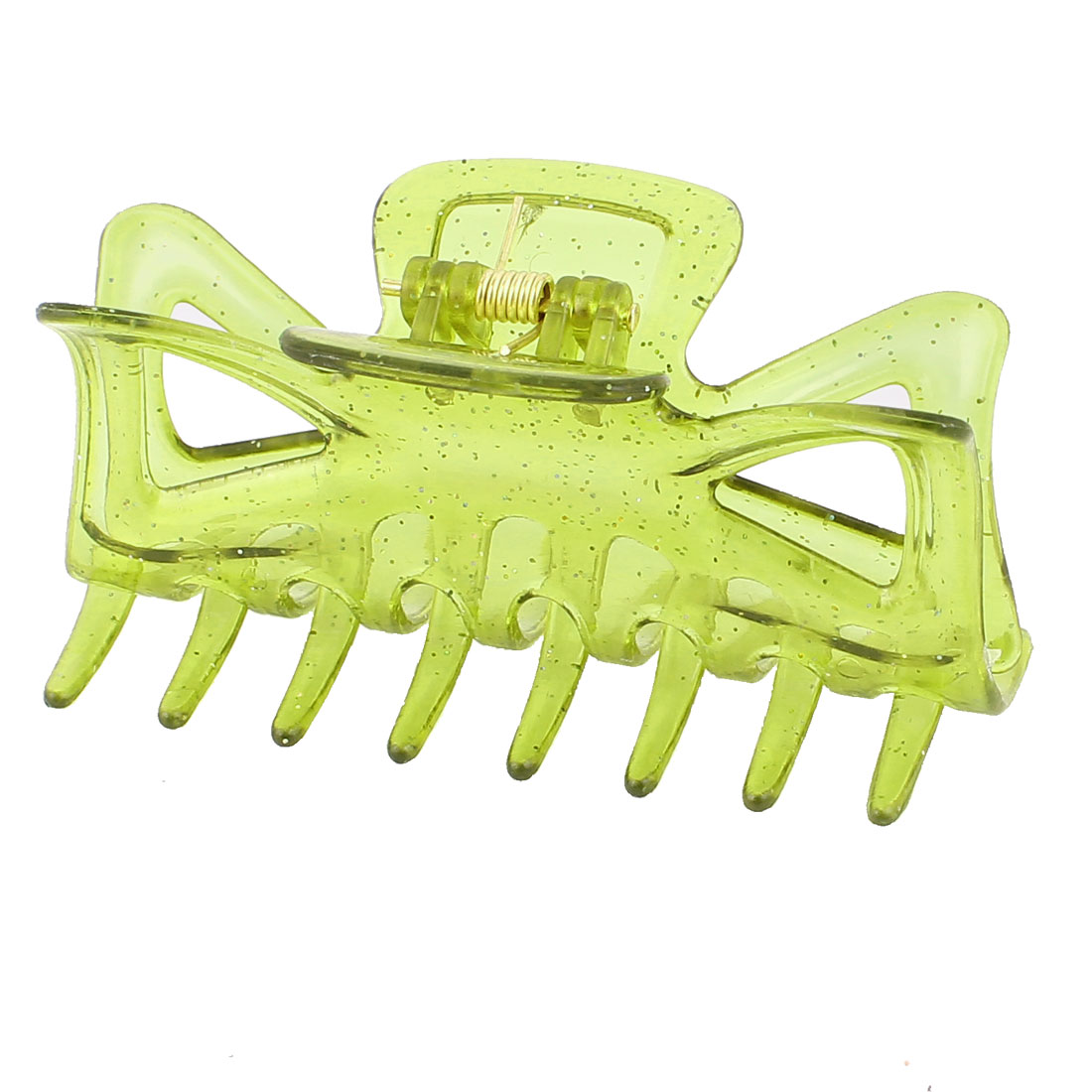 Plastic Spring Loaded Glitter Powder Teeth Design Hairpin Hair Clip Claw for Lady Clear Green
