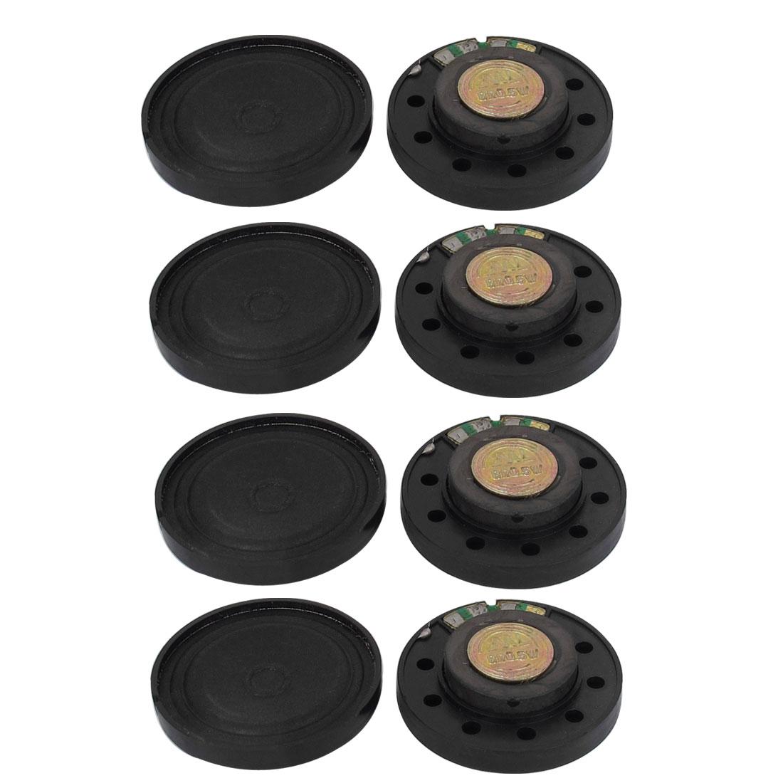 8 Pcs 0.5W 8 Ohm 36mm Dia Internal Magnet Speaker Amplifier Black