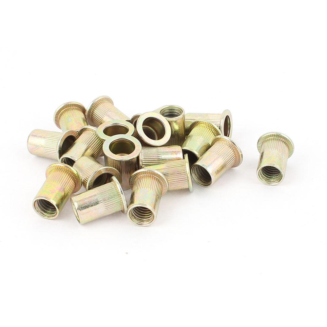10mm Thread Dia 21mm Long Metal Rivet Nut Insert Nutsert Gold Tone 20Pcs