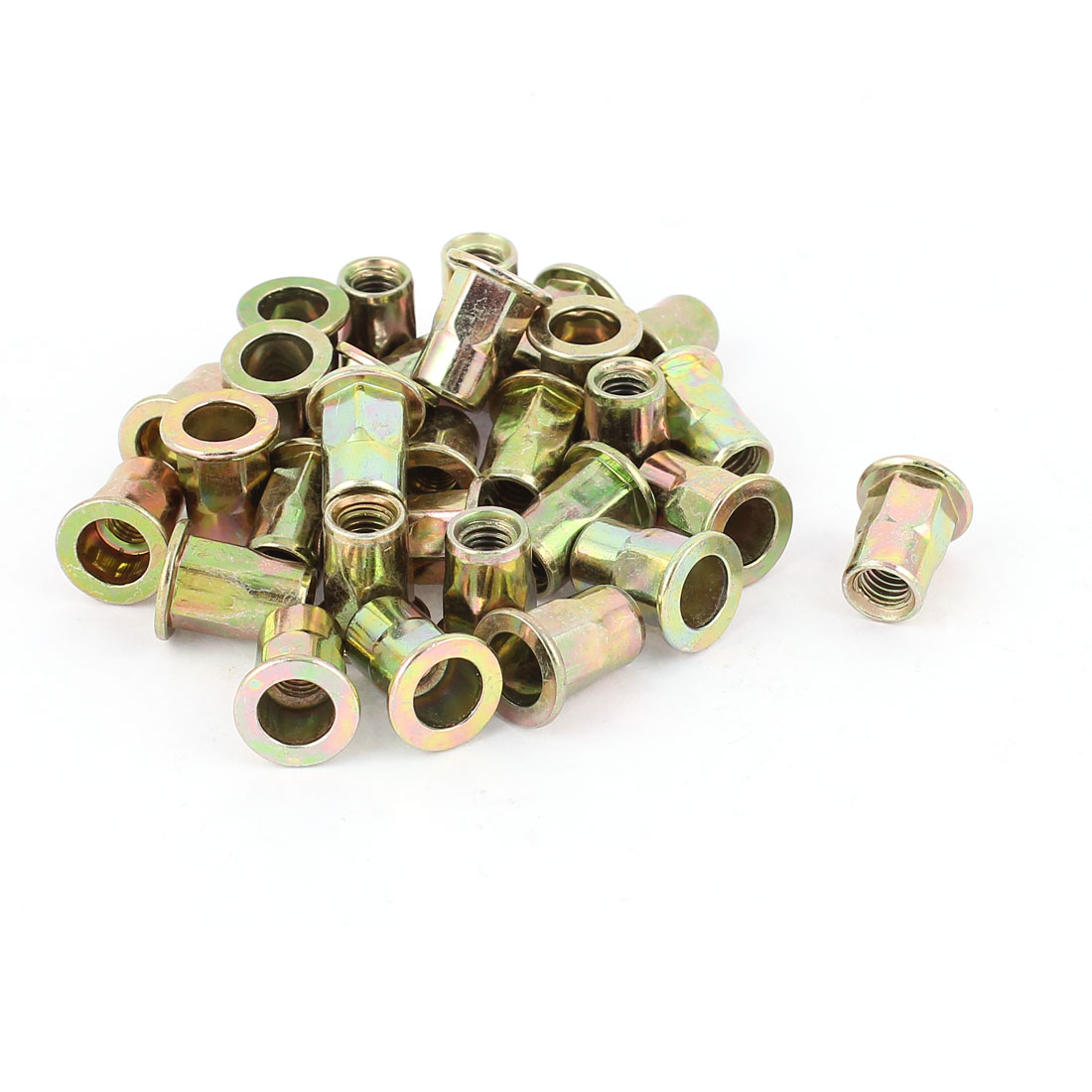 6mmx15mm Flat Head Metal Rivet Nut Insert Nutsert Gold Tone 30Pcs