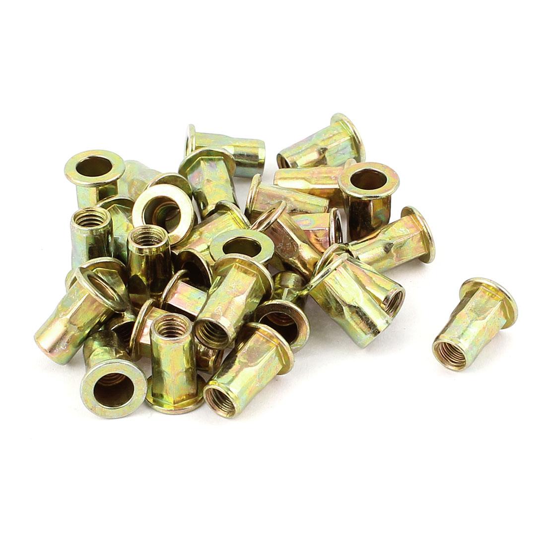 5mmx12.5mm Flat Head Metal Rivet Nut Insert Nutsert Gold Tone 30Pcs