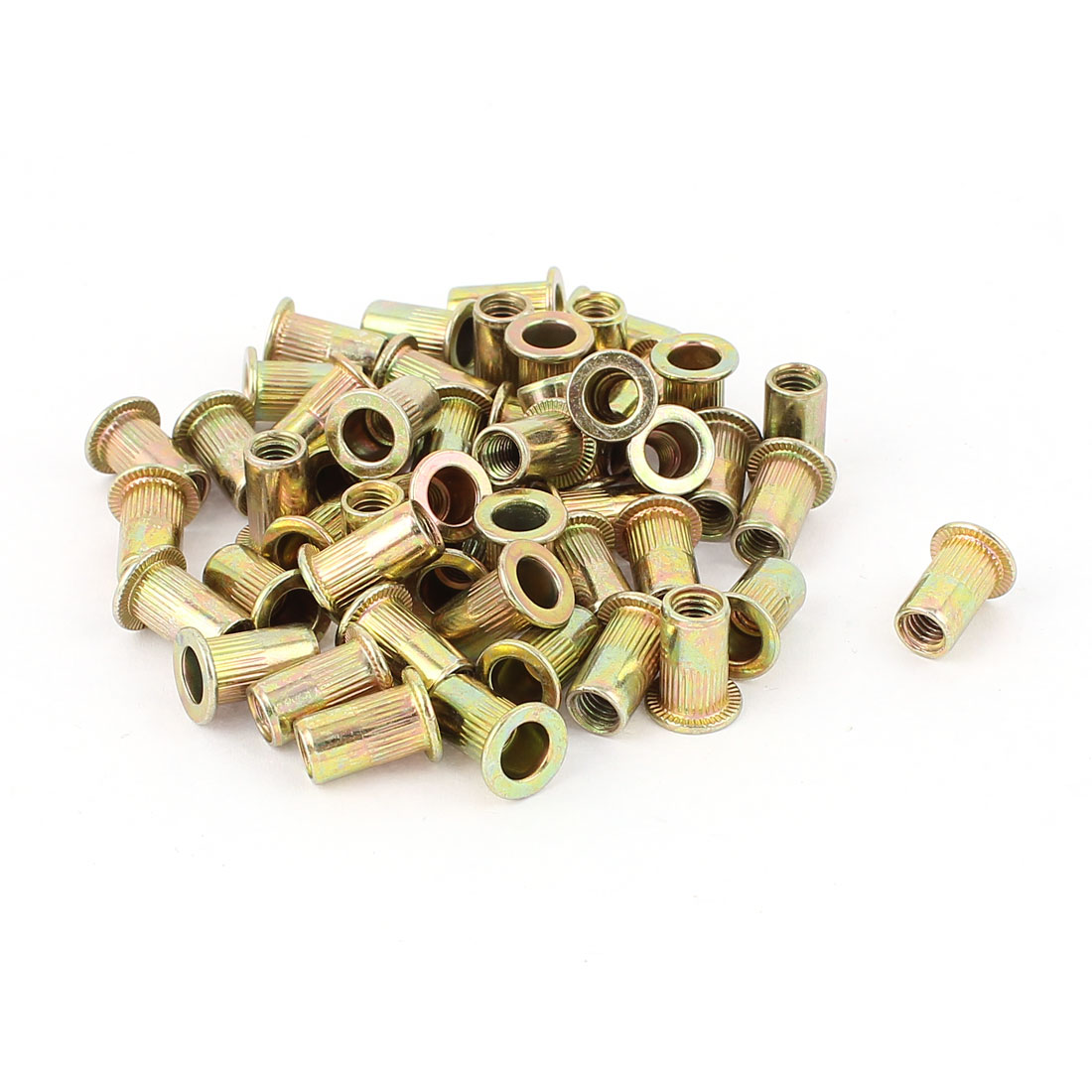 5mm Thread Dia 13mm Long Metal Rivet Nut Insert Nutsert Gold Tone 50Pcs