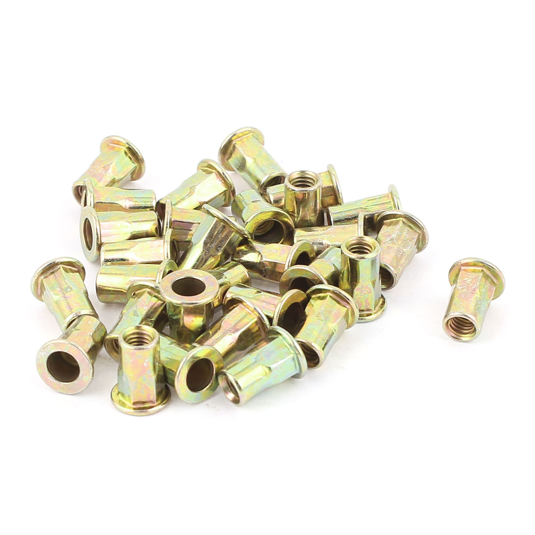4mmx10.5mm Flat Head Metal Rivet Nut Insert Nutsert Gold Tone 30Pcs