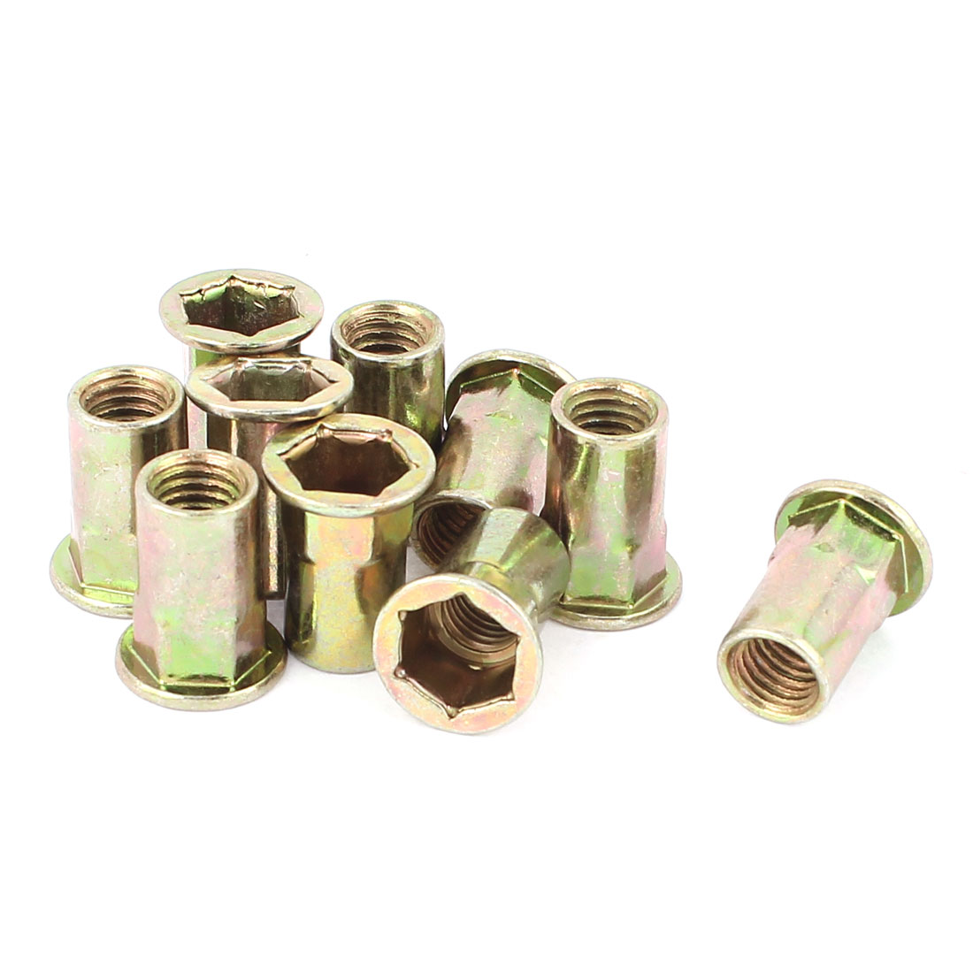 9mmx22.5mm Flat Head Metal Hex Socket Rivet Nut Insert Nutsert 10Pcs