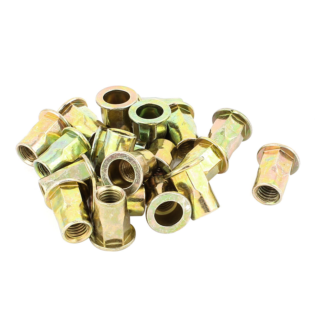 8mmx18mm Flat Head Metal Rivet Nut Insert Nutsert Gold Tone 20Pcs