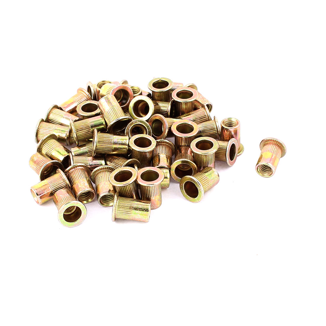 6mm Thread Dia 15mm Long Metal Rivet Nut Insert Nutsert Gold Tone 50Pcs