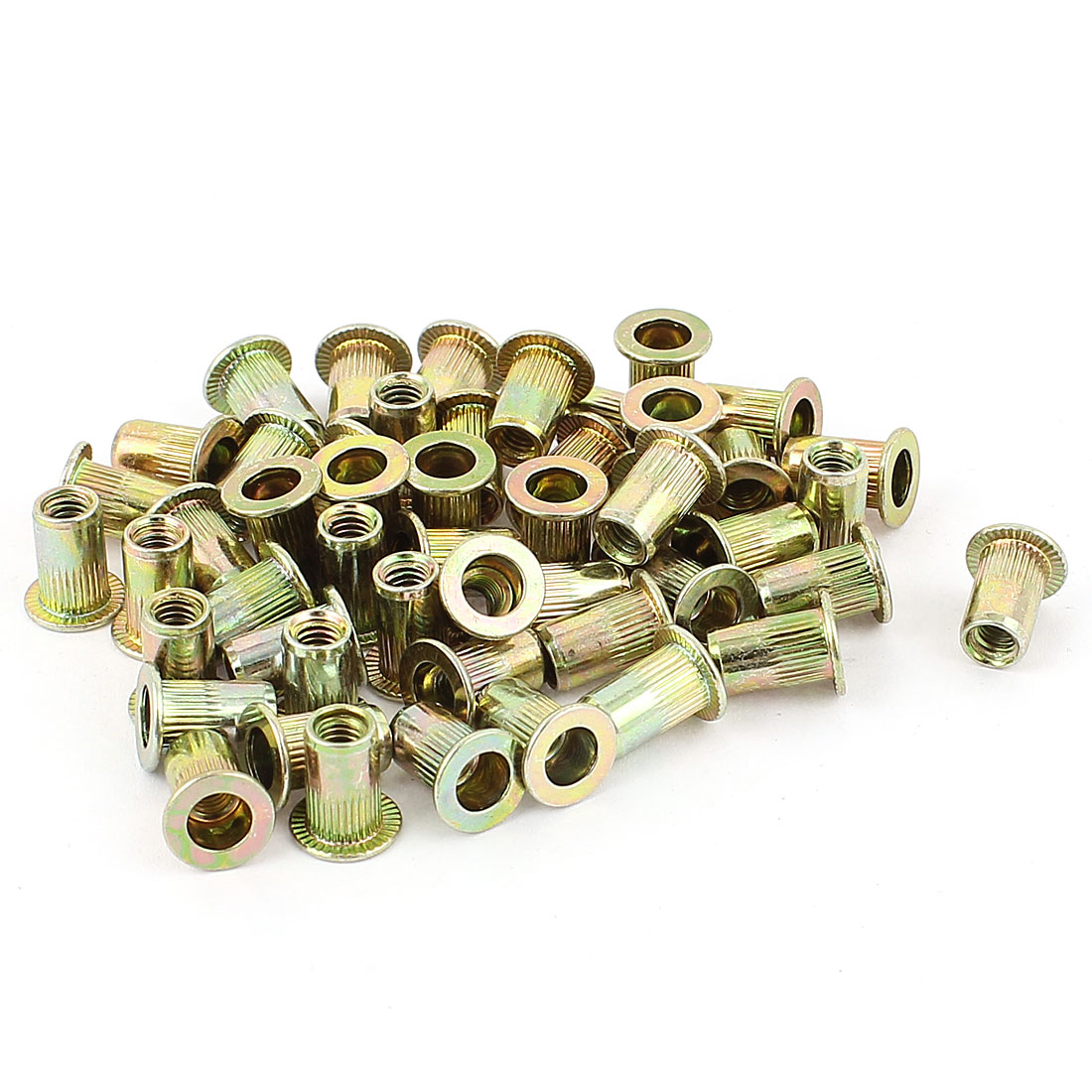 4mm Thread Dia 11mm Long Metal Rivet Nut Insert Nutsert Gold Tone 50Pcs