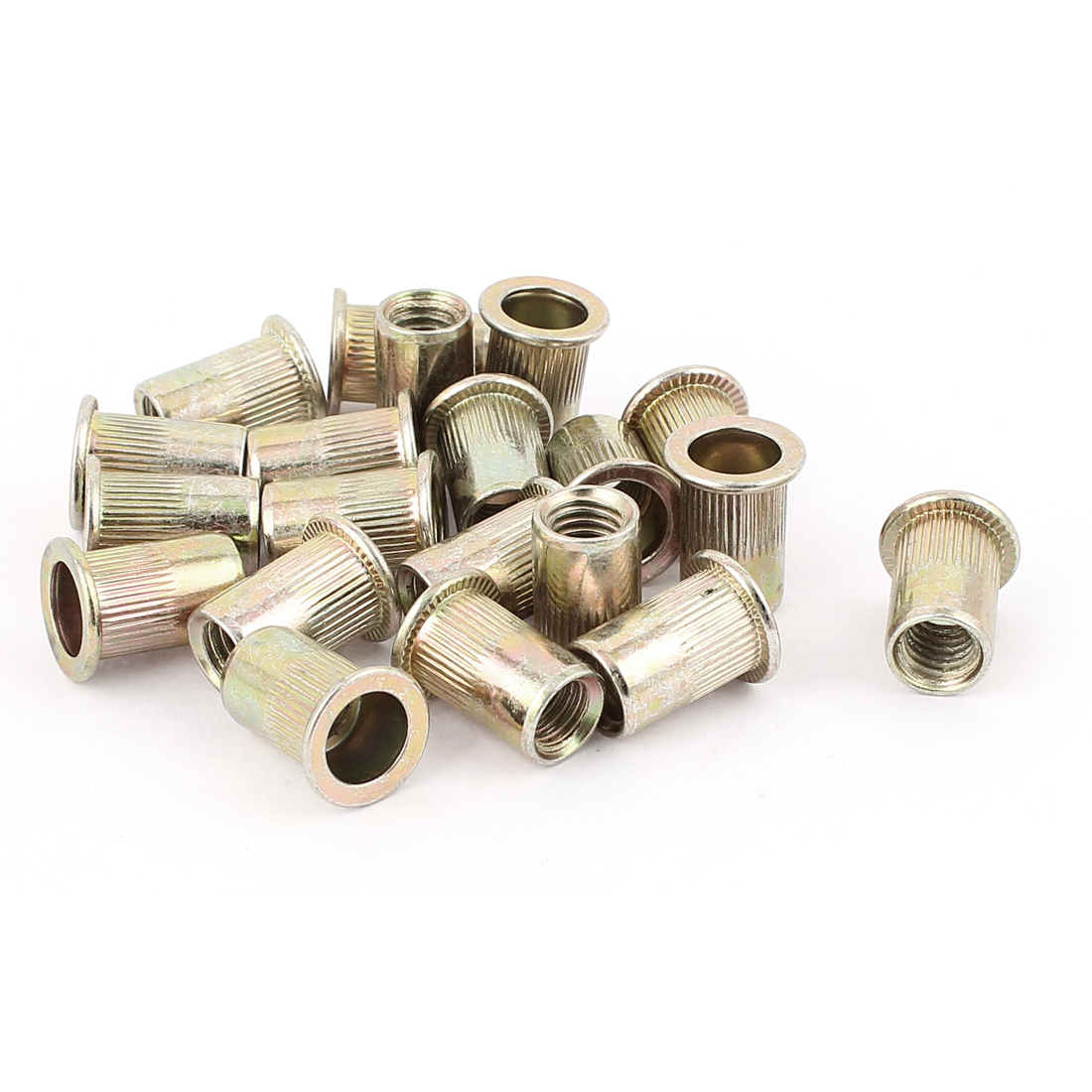 8mm Thread Dia 18mm Long Metal Rivet Nut Insert Nutsert Gold Tone 20Pcs