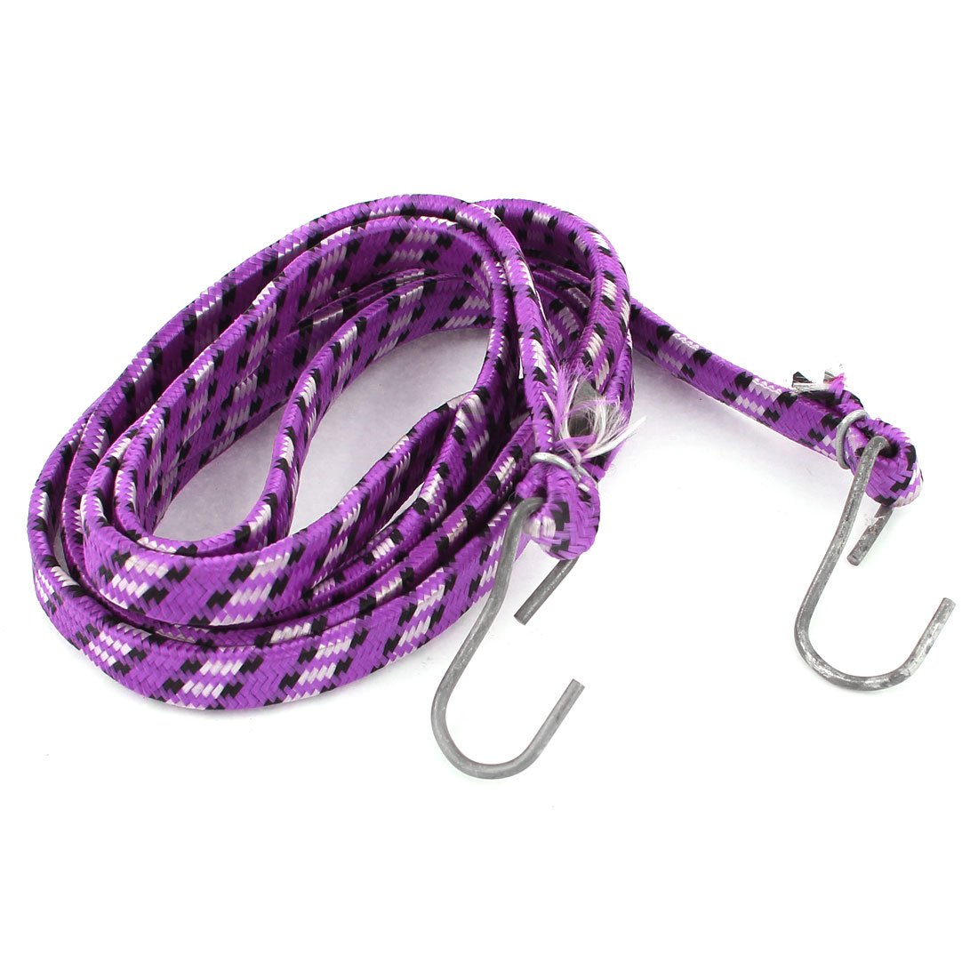 Bike Bicycle Metal Hook Flat Stretchy Luggage Cord Rope Purple 2M Long