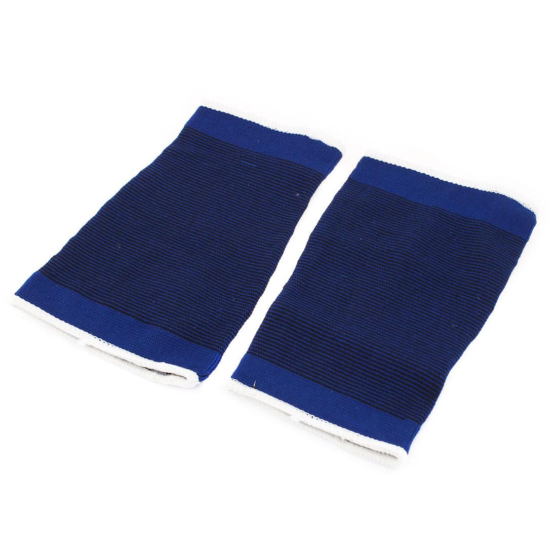 Man Sports Pullover Elastic Calf Crus Support Protector Blue Black 2 Pcs