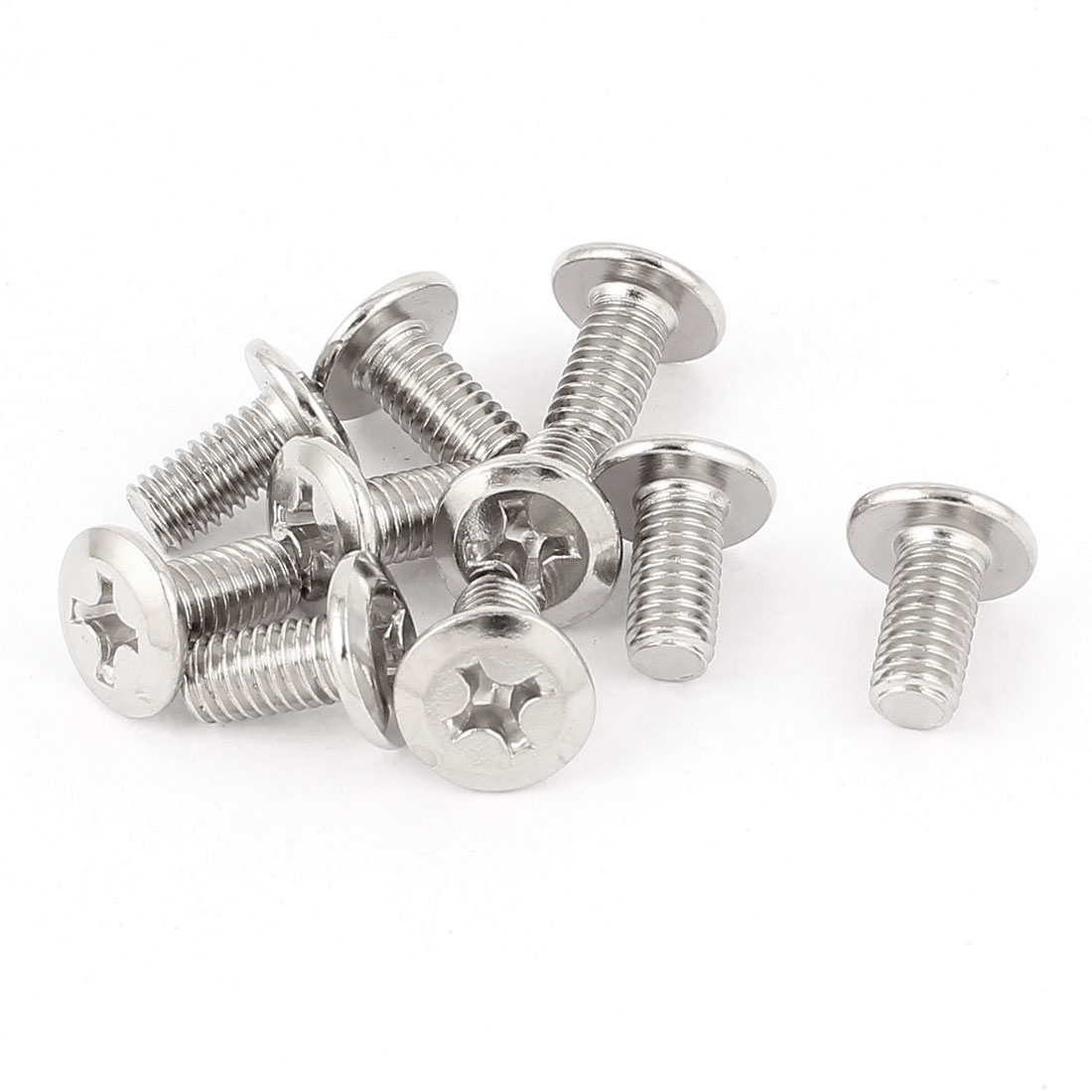 M6 x 12mm Phillips Flat Head Countersunk Bolts Machine Screws Silver Tone 10 Pcs