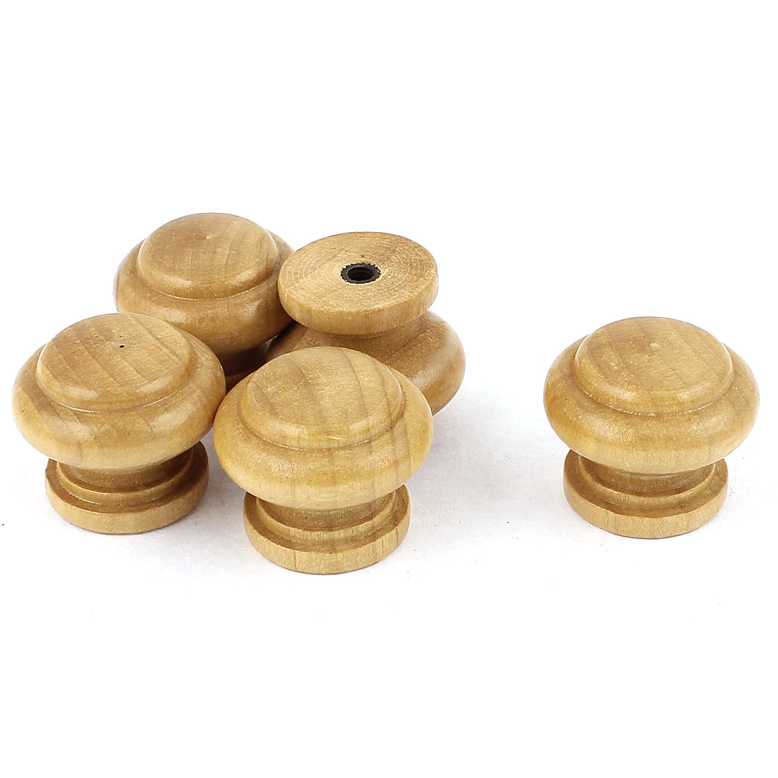 Cabinet Drawer Cupboard Door Wooden Round Pull Knob Handle Brown 5 Pcs