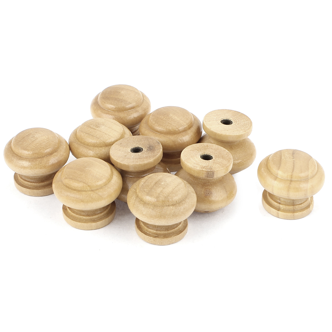 Cabinet Drawer Cupboard Door Wooden Round Shaped Pull Knob Handle 10 Pcs
