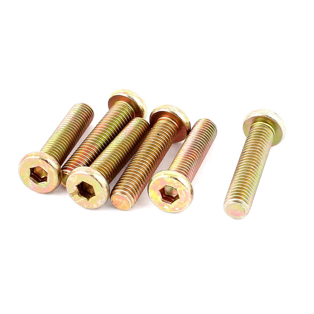 M8 x 35mm Threaded 1.25mm Pitch Hex Socket Head Cap Screws Bolts 6 Pcs