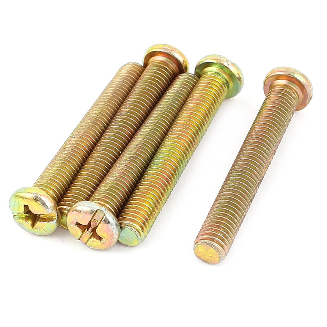 M8 x 55mm Male Thread Phillips Round Head Machine Screw Bolt Bronze Tone 5 Pcs