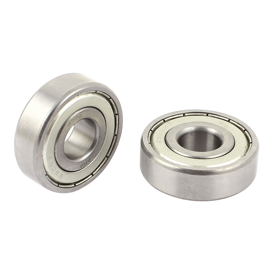 2 Pcs 6302Z Deep Groove Ball Bearing Silver Tone 42mm x 15mm x 13mm