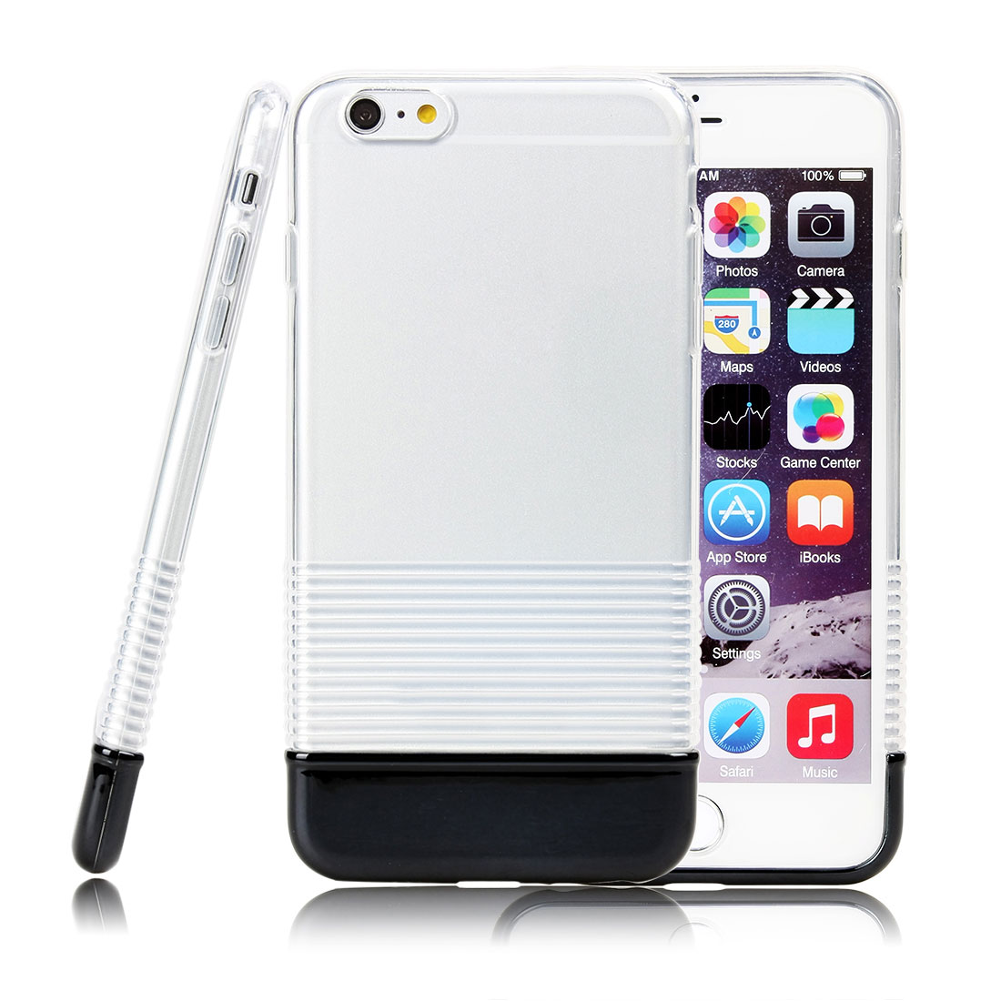 TPU Rubber Gel Ultra Thin Case Cover Transparent For Iphone 6 Plus Black