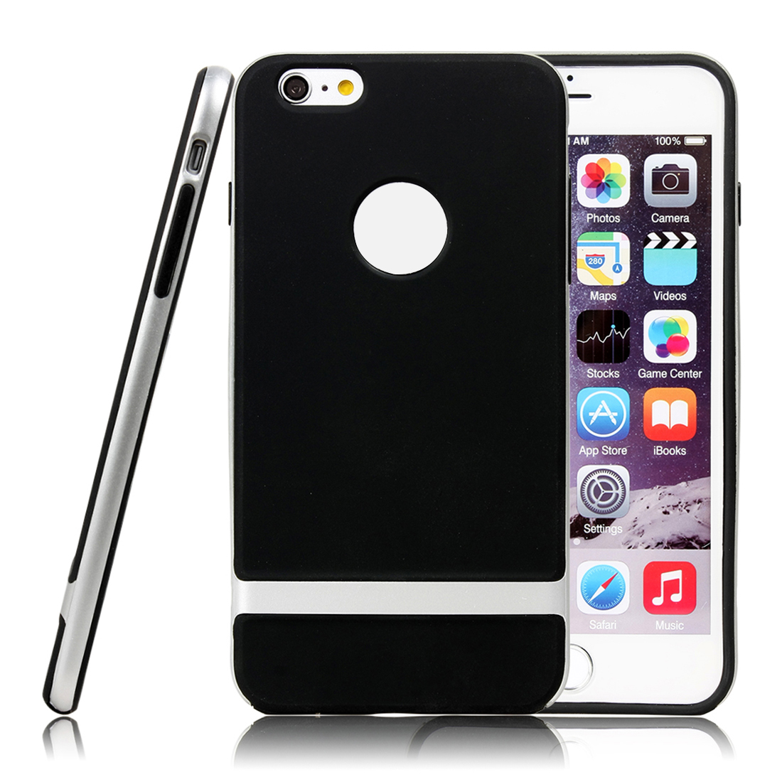 For iPhone 6 Plus Hybrid Shockproof Hard Bumper Soft Case Cover Silver