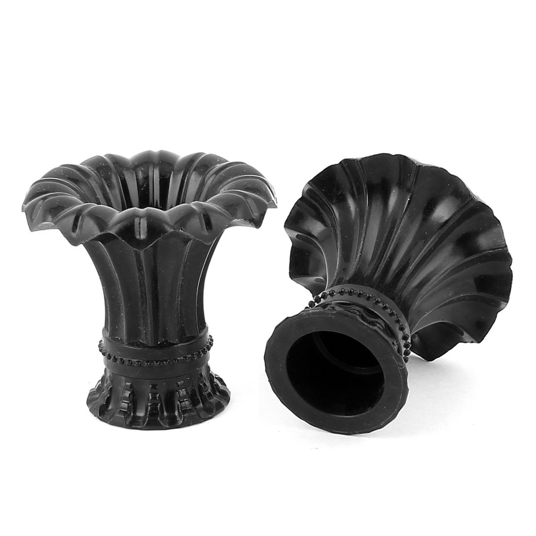 2pcs Black Plastic Petunia Design 20mm Drapery Curtain Rod Ends Caps Finials