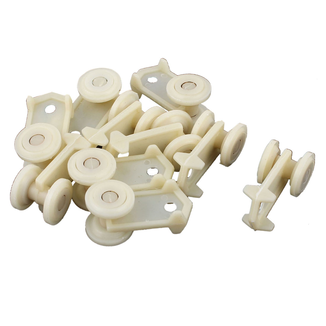 10pcs Plastic 15mm Dia Wheel Curtain Track Carrier Rollers Beige
