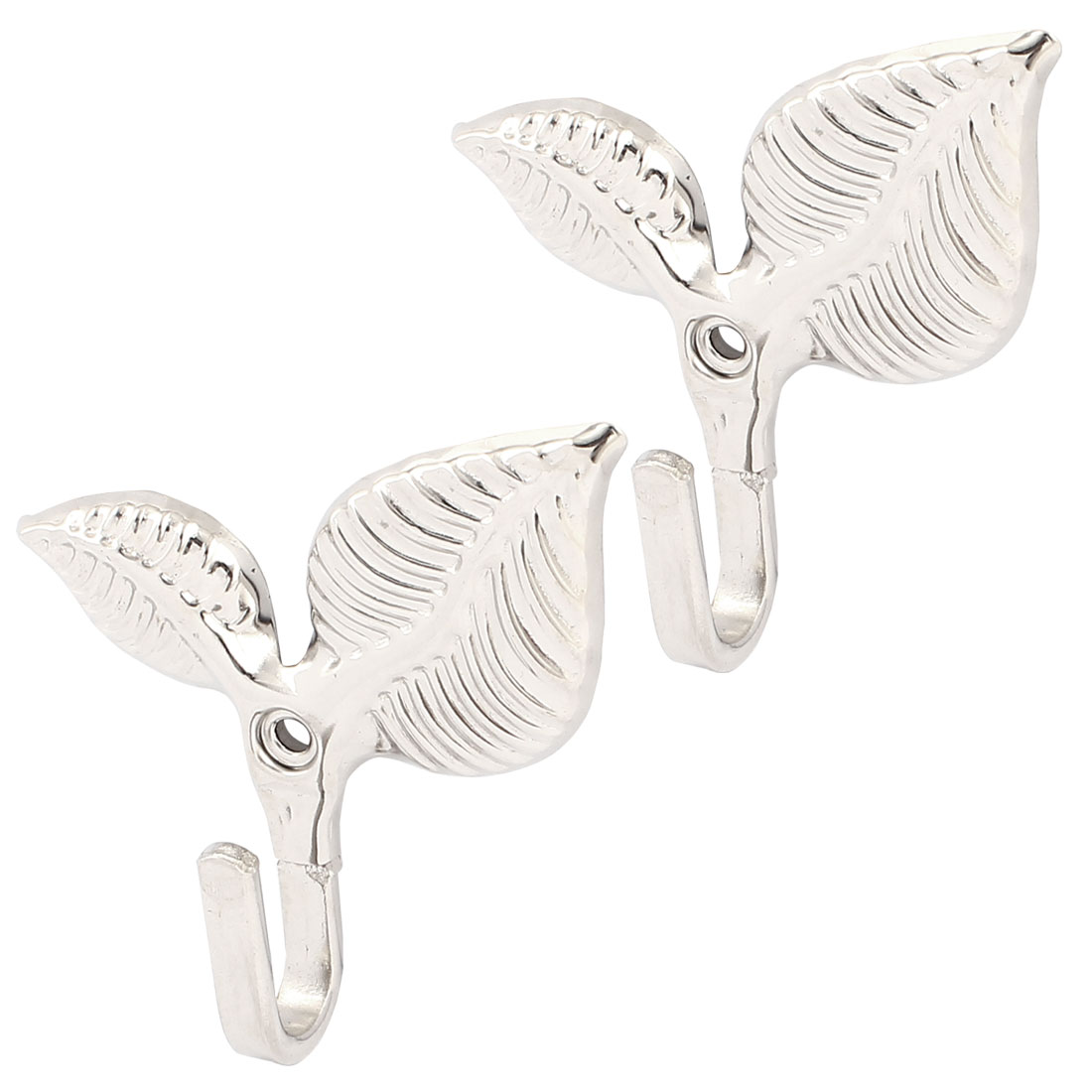 Wall Mount Jewelry Coat Scarf Bag Hanging Display Hook Hanger Silver Tone 2PCS