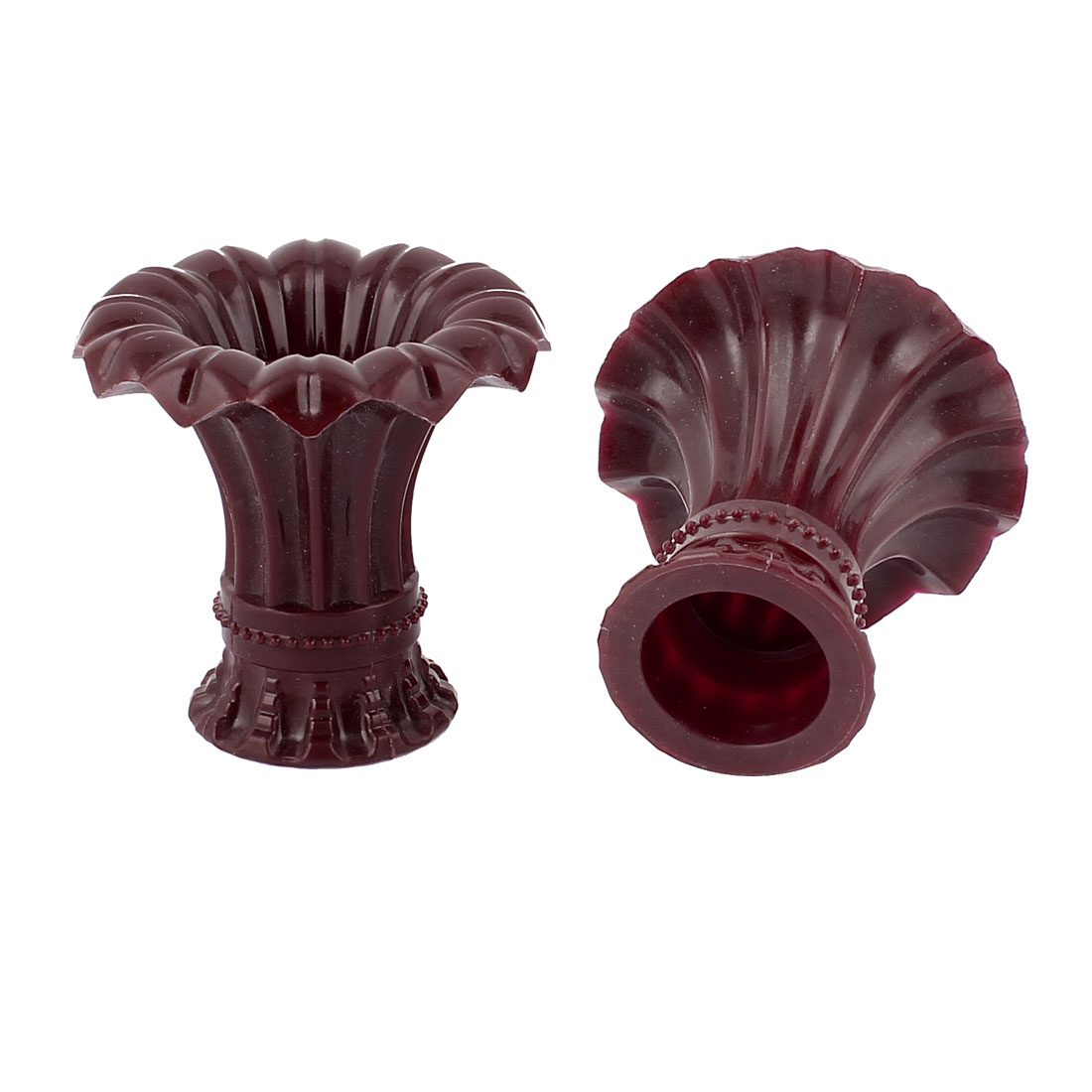 2pcs 20mm Dia Plastic Petunia Shape Drapery Curtain Rod Ends Caps Finials Burgundy