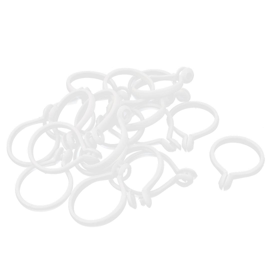 White Plastic Window Curtain Drapery Shower Sliding Eyelet Hooks Rings 20Pcs