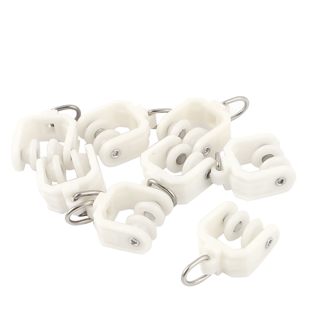 8pcs Plastic 9mm Dia Wheel Swivel Eye Ring Curtain Track Rail Rollers White