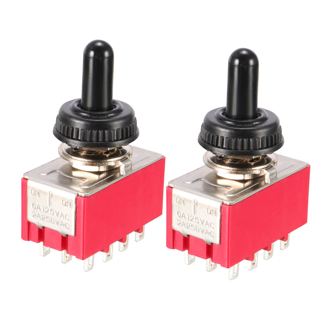 AC 250V 2A 125V 6A on/off/on 3 Position 4PDT Toggle Switch 2PCS w Waterproof Cap