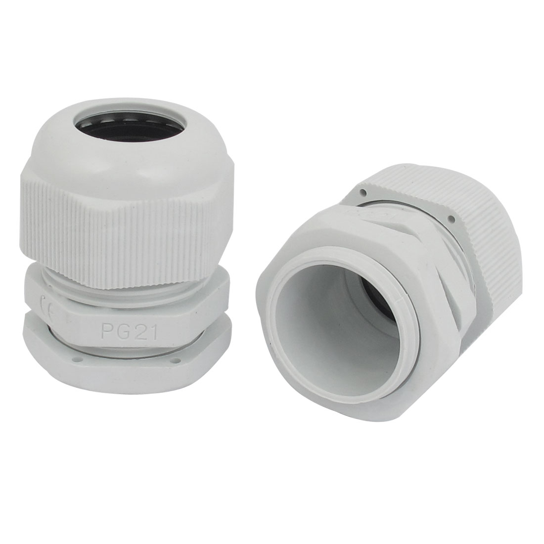 2 Pcs PG21 Compression Waterproof Stuffing 16-21mm Cable Glands White