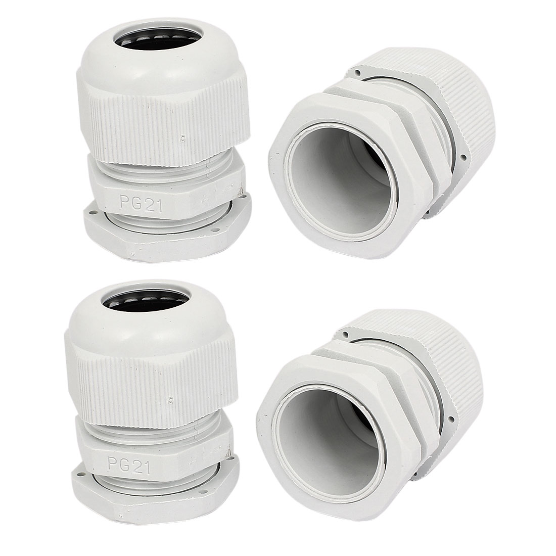4Pcs PG21 Compression Waterproof Stuffing 16-21mm Cable Glands White