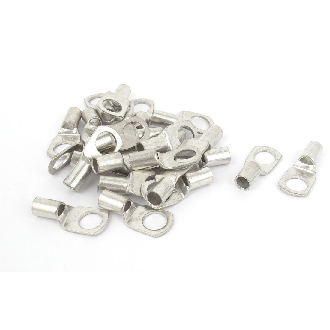 25 Pcs Silver Tone 10-8 8mm Bolt 10mm2 Copper Cable Lug Terminal