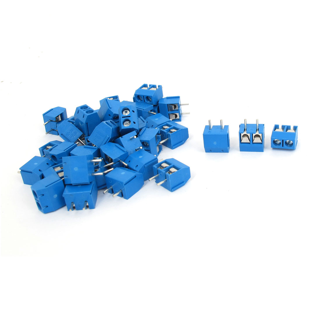 40 Pcs 2 Pin 5mm Pitch PCB Mount Screw Terminal Block Blue AC 300V 10A