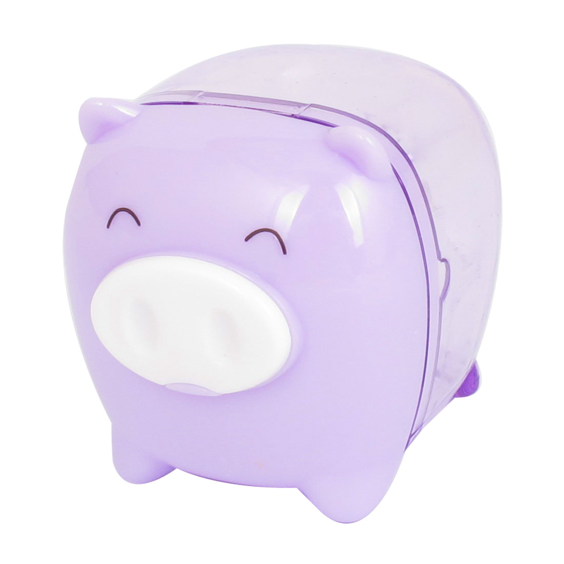 Purple Office Pig Design Plastic Housing Pencil Sharpener Tool for Students