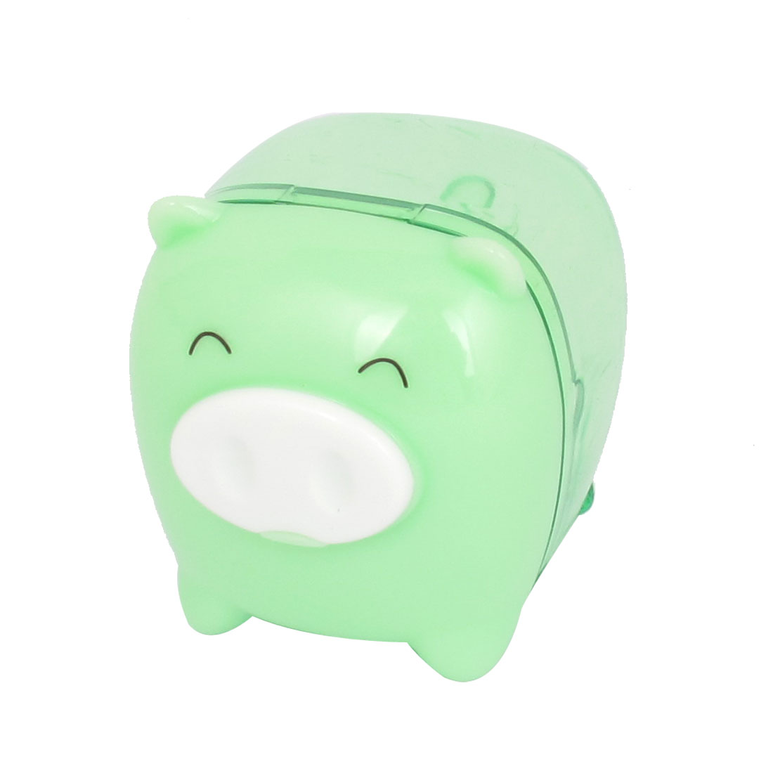Green Pig Design Plastic Housing Pencil Sharpener Tool for Students