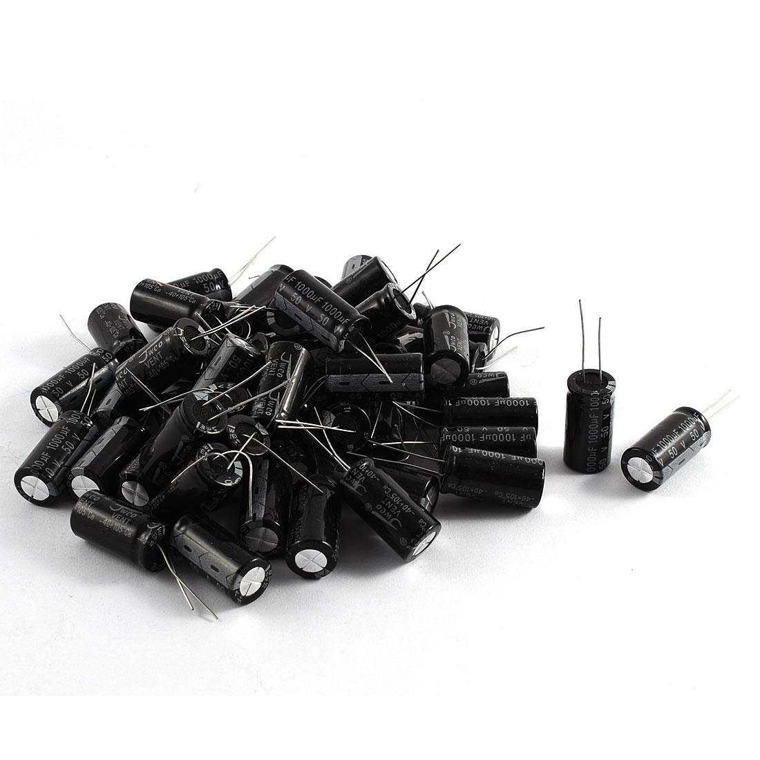 50 Pcs 50V 1000uF Radial Lead Aluminum Electrolytic Capacitors Black