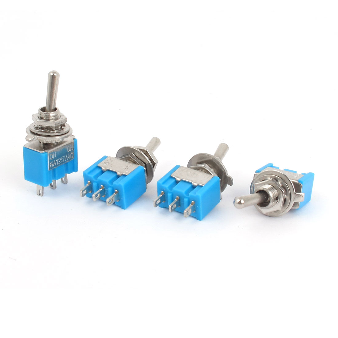 AC 125V 6A SPDT 3 Pin ON-OFF 2 Positions Locking Rocker Toggle Switch 4pcs Blue